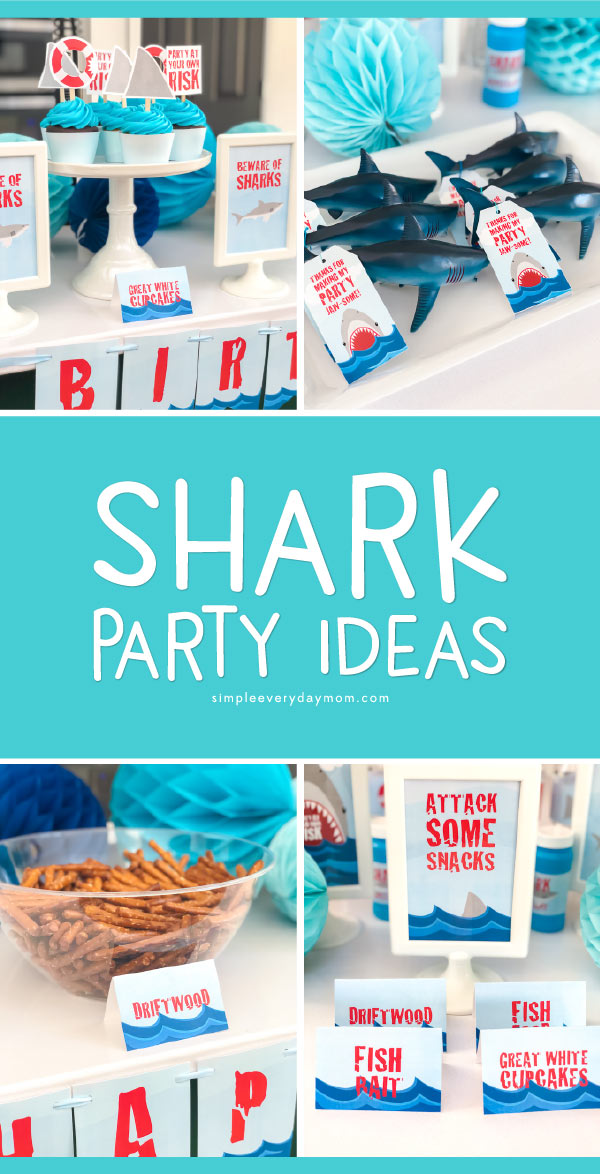 Shark Party Ideas | Find everything you need to throw a DIY shark theme party. From decorations to games, printables, invitations, favors, snacks and more, you'll find it all here!