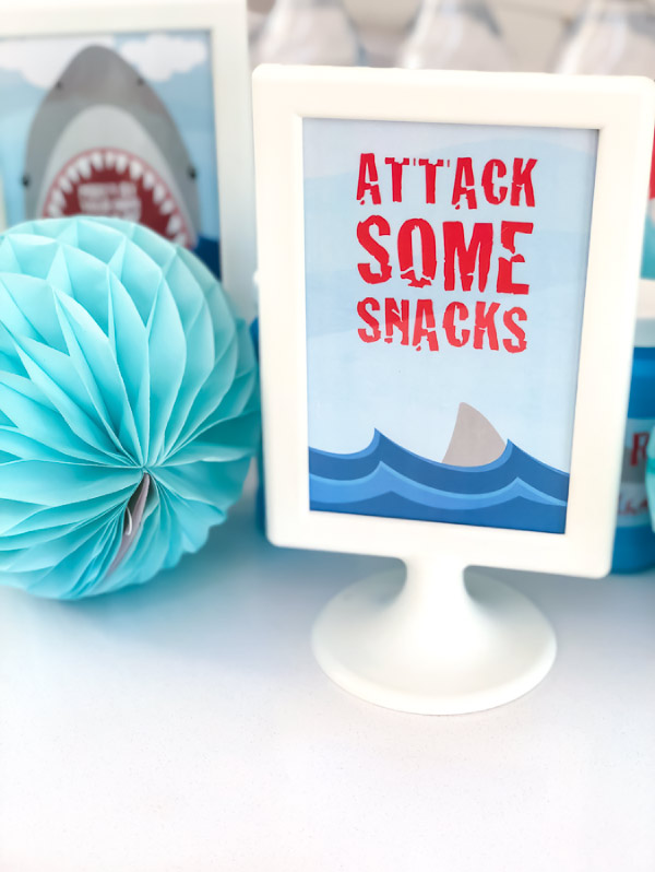 Shark Party Decor   These 4x6 signs are the perfect idea for dessert tables and tabletops. #sharks #boysbirthdayparties #partyideas