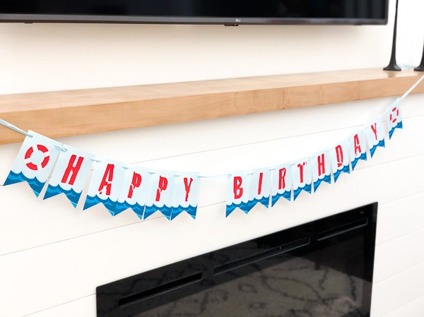 Shark Happy Birthday Banner For DIY Shark Party #sharks #kids #kidsparty #kidspartyideas #birthday