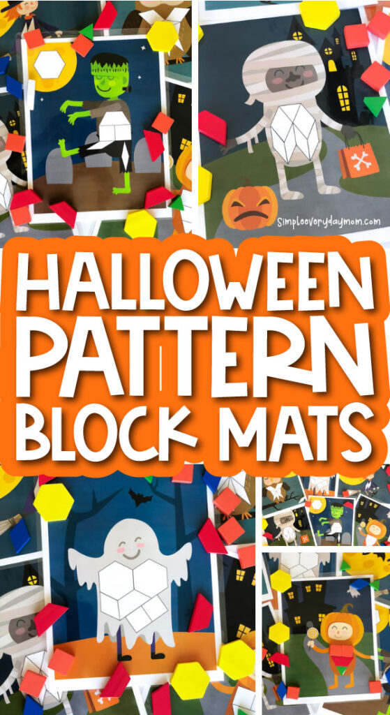 halloween pattern block mat image collage with the words halloween pattern block mats