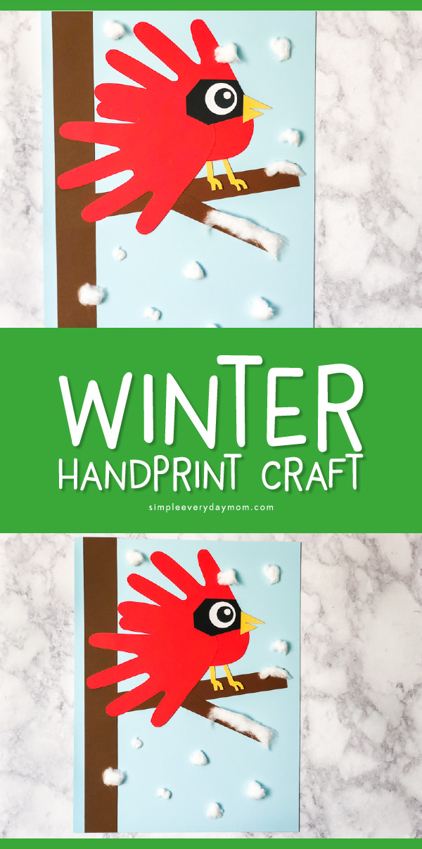 Winter Crafts For Kids   Make this fun handprint cardinal scene this winter. It's a great craft for kindergarten and beyond and makes for a cute keepsake!   #wintercrafts #craftsforkids #kidscrafts #handprintart #handprintcraft #kidsandparenting #teachingkindergarten #kindergarten #teacher #elementary #earlychildhood #kids #christmas #christmascrafts #boredombusters #ideasforkids