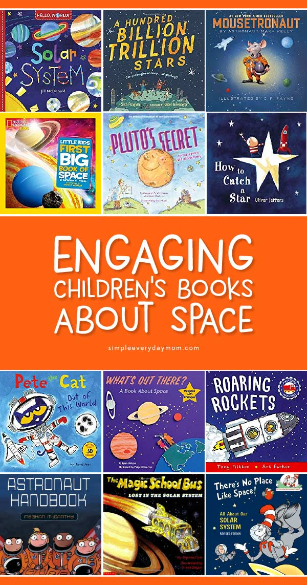 Outer Space Books For Children | Read these fun space books to your kids or students when working on space themed lesson plans.   #kids #kidsactivities #reading #preschool #kindergarten #elementary #kidsandparenting #homeschool #homeschooling #ideasforkids #childrensbooks