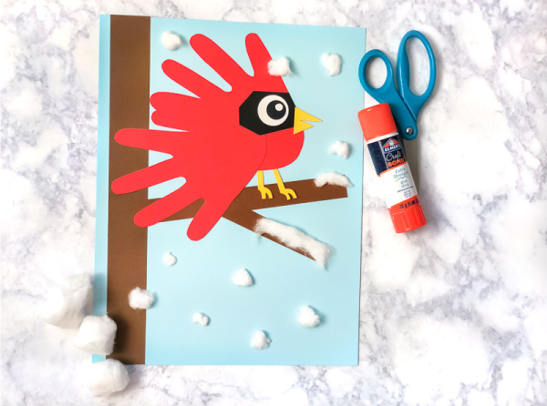 Animal Handprint Craft | Make this fun handprint cardinal for Christmas or any time! It's a great idea for use at home or in the classroom. #handprint #handprintart #kidsart #kidscrafts