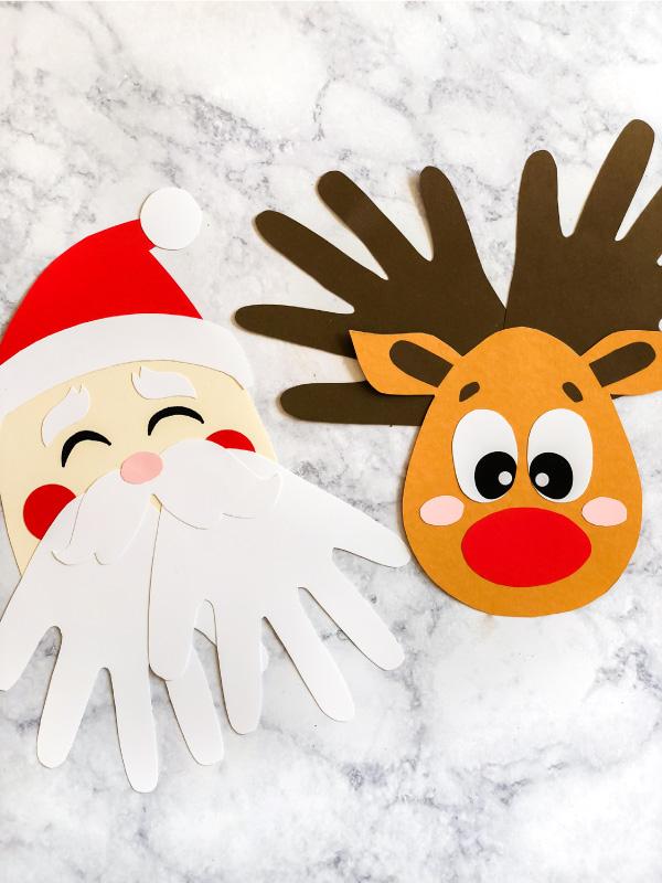 Christmas Handprint Craft | Make these cute keepsake Santa & Rudolph handprint craft. They're great for home or in the classroom. #teacher #teachingkindergarten #ideasforkids #kids