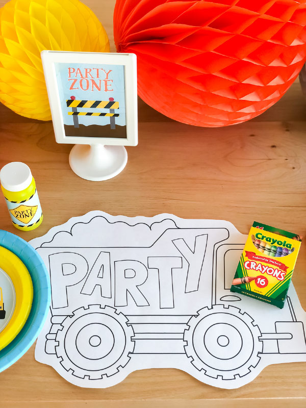 Construction Party Coloring Page Placemat | Give the kids something fun and simple to do with these printable coloring pages. #kids #kidsandparenting #ideasforkids #coloring