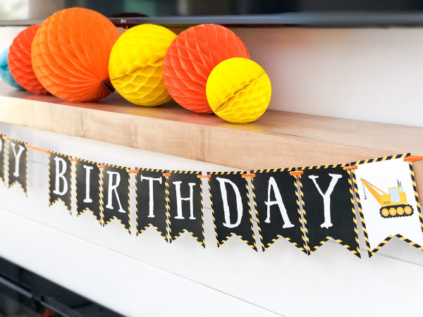 Construction Party Printable Banner #kids #birthday #bdayparty