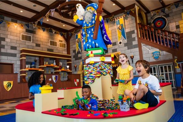 Legoland castle hotel lobby brick pit