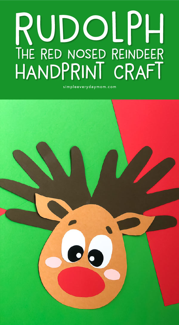 Handprint Art For Christmas | Kids will love making these fun reindeers for mom, dad or friends! #teacher #teachingkindergarten #elementary #earlychildhood #kidscrafts