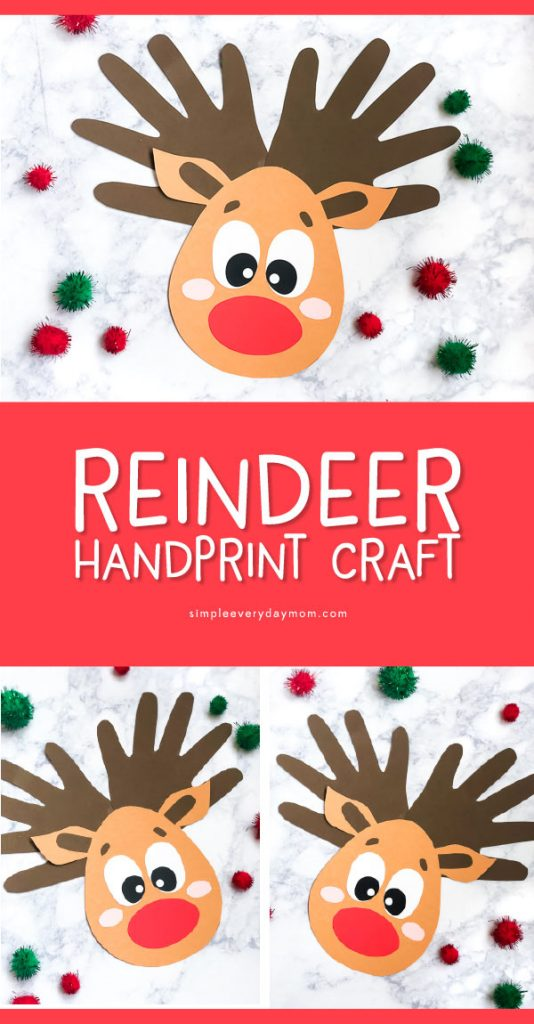 Handprint Craft For Kids | This Christmas make this fun reindeer handprint craft project to preserve the memories of your child's hands. #kids #kidsactivities #ideasforkids #christmas #christmascrafts #kidscrafts #craftsforkids #teaching