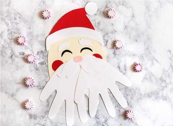 Santa Handprint Craft #kids #kidsactivities #craftsforkids #kidscrafts #teaching #teacher
