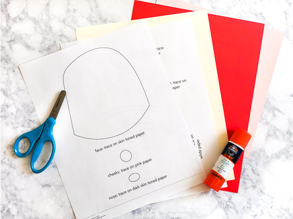Santa handprint art supplies