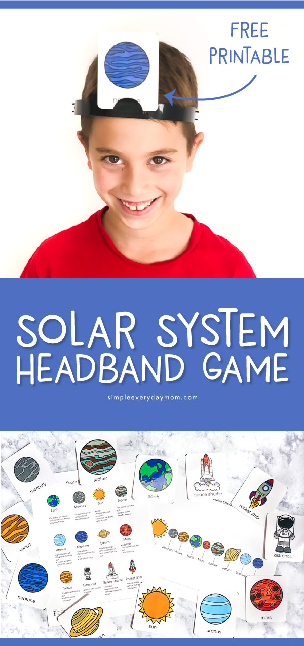 Solar System Headband Game | Download these free printable flashcards and cheatsheets to learn fun facts about the solar system and space! #kidsactivities #educationalactivities #learningactivities #elementary #firstgrade #secondgrade