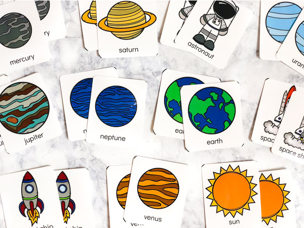 space flashcards for kids