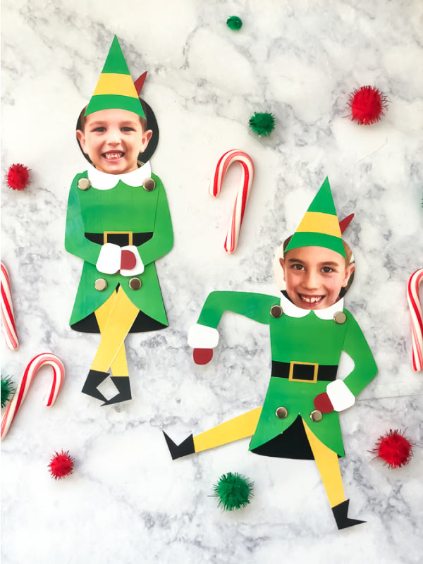 Free Printable Christmas Craft For Kids | This winter time turn your kids into silly Buddy the Elf puppets with this free printable. #ideasforkids #ece #children #kidsactivities #christmas