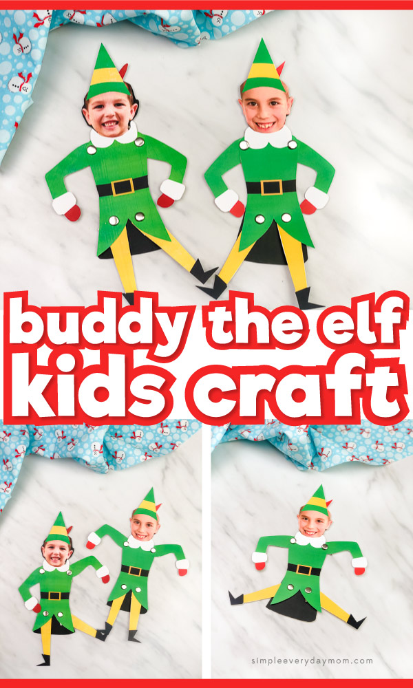 Buddy the Elf kid photo puppet craft image collage with the words buddy the elf kids craft in the middle