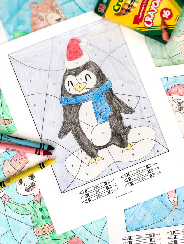 Penguin Color By Number Page | Download this free printable coloring page; it's a great, easy Christmas activity for the whole family. #kidsactivities #christmas #penguin #elementary #earlychildhood #ideasforkids