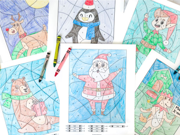 christmas color by numbers #christmas #kidsactivities #kidsandparenting
