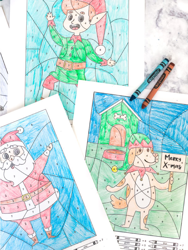Christmas Color By Number Worksheet | Use these printable coloring pages this Christmas to entertain and teach kids! #earlychildhood #ideasforkids #kidsactivities #kindergarten #firstgrade #homeschool