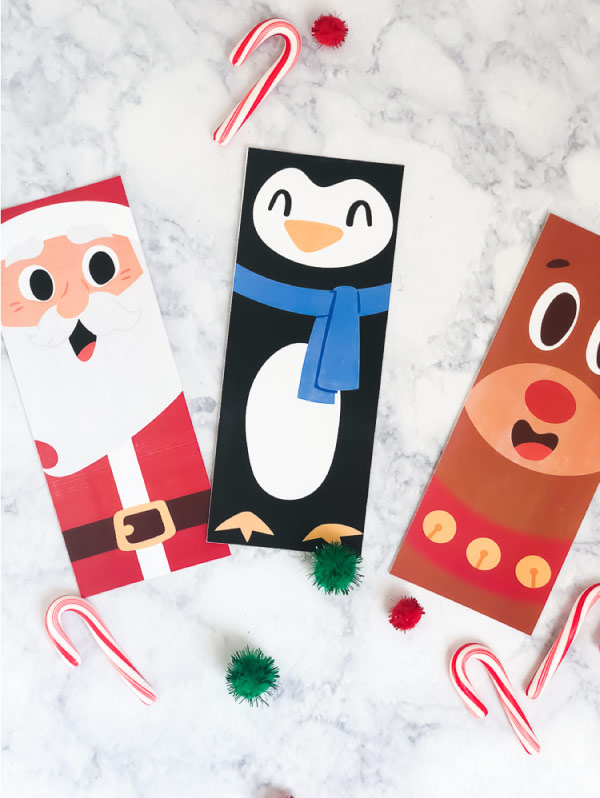 Free Printable Christmas coloring page bookmarks of Santa, Rudolph the Red Nosed Reindeer and a penguin. #kids #kidsactivities #ideasforkids #christmas #freeprintable #elementary #teacher
