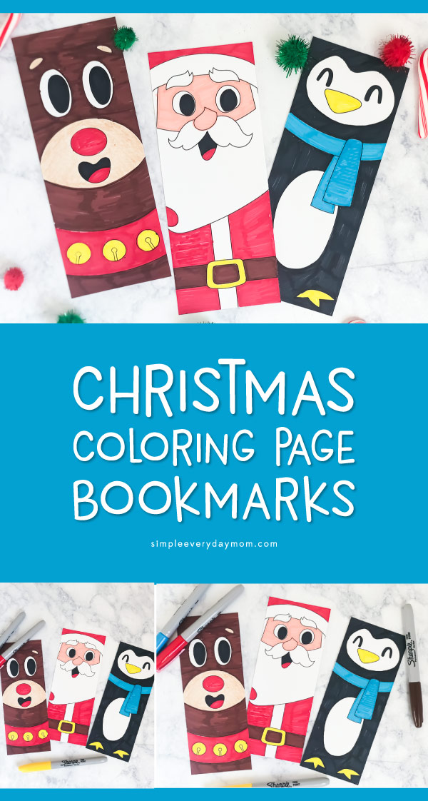 Free Printable Christmas Bookmark | Color in these cute bookmarks featuring Rudolph, Santa Claus and a penguin. #christmas #christmascrafts #coloringpage #kidsactivities #ideasforkids #kids
