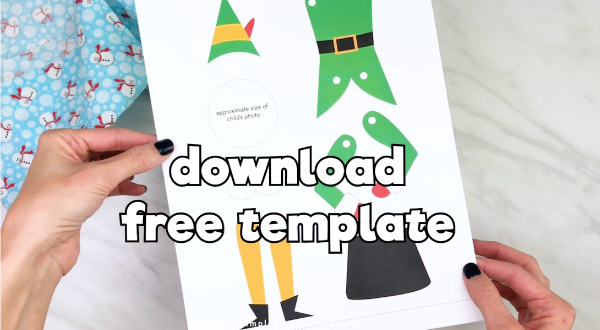 Hands holding buddy the elf puppet craft template