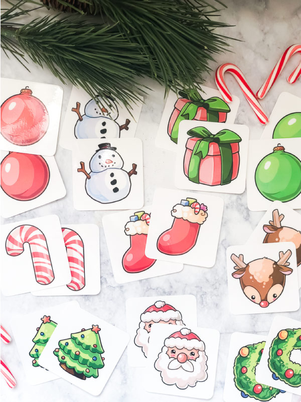Free Printable Christmas Matching Game For Kids | Children will have a blast playing with this cute memory game! #toddlers #preschoolers #kids #kidsactivities