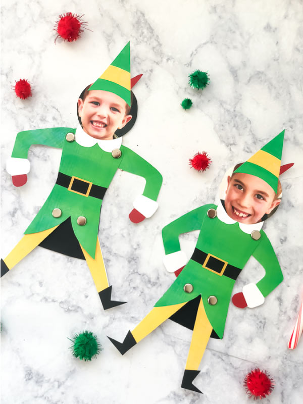 Easy Christmas Craft For Kids | Turn your child into Buddy the Elf in an instant with this simple elf template. #christmas #christmascrafts #elf #christmascraftsforkids #kidscrafts