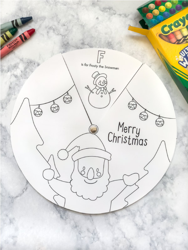 Free Printable Christmas Coloring Page Wheel #christmascrafts #kids #kidsandparenting
