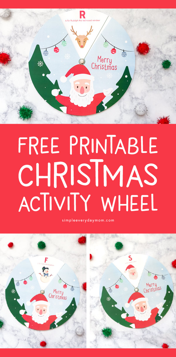 Free Printable Christmas Activity Wheel | Download this fun and educational Christmas spinner for kids this winter! It's a simple and fun activity for young children.  #kids #kidsandparenting #ideasforkids #christmas #christmascrafts #kidscrafts #craftsforkids #preschool #kindergarten #elementary #teachingkindergarten #coloring #earlychildhood