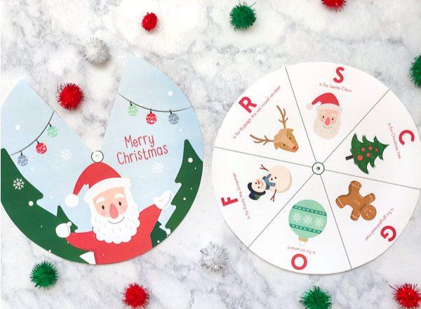 Kids Christmas Printable | Download this free printable Christmas spinner for kids. #kids #kidsandparenting #kindergarten
