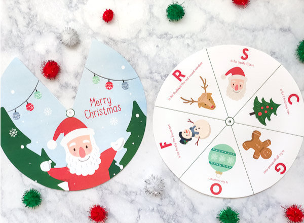 Kids Christmas Printable | Download this free printable Christmas spinner for kids. #kids #kidsandparenting #kindergarten