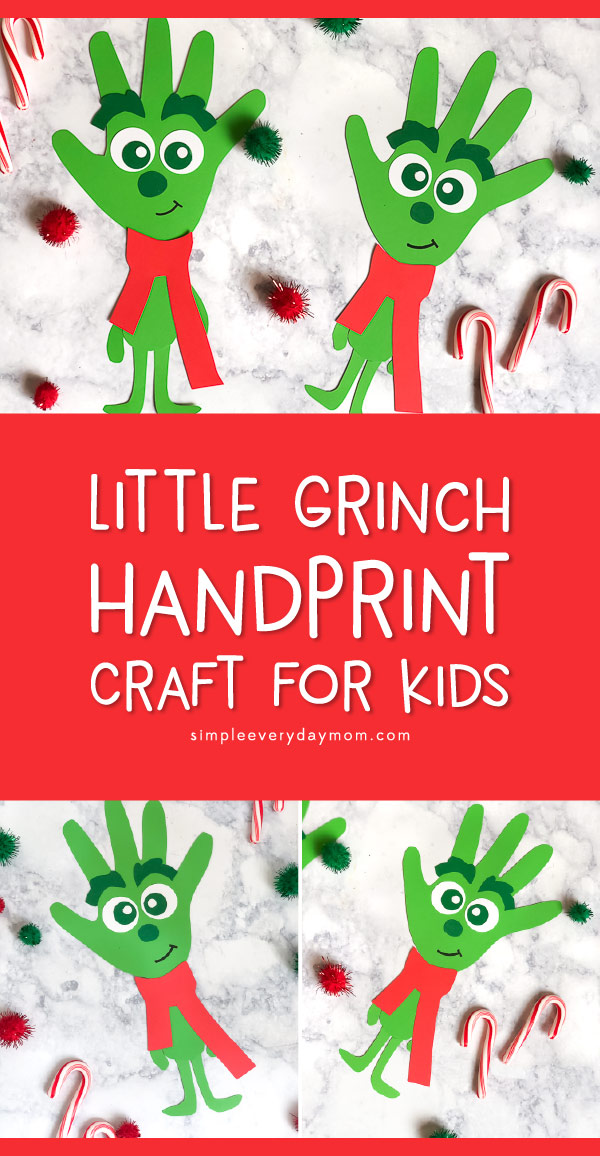 Christmas Handprint Grinch Craft For Kids | Spend some quality time this holiday season making these adorable Grinch characters from the new movie! #christmas #christmascrafts #christmascraftsforkids #kidscrafts #kidsactivities