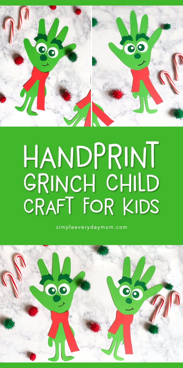 Handprint Grinch Craft For Kids | Make this DIY Grinch child this Christmas season and celebrate the release of the new movie! #kids #kidsandparenting #christmas #christmascrafts #christmascraftsforkids