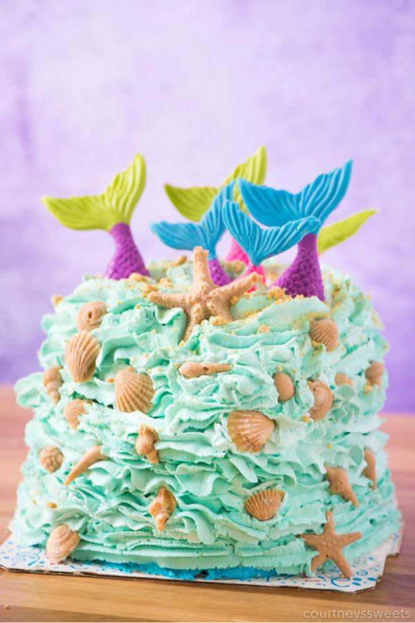 Easy DIY mermaid cake for birthday party #mermaidbirthdayparty #partyideas #kidsparty
