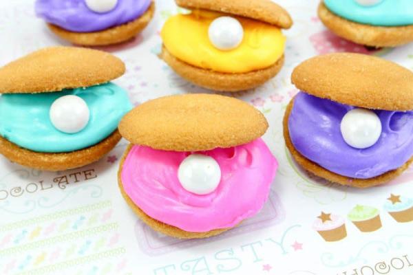 Mermaid Party Food | Clam Cookies #mermaid #girlsbirthdayparty