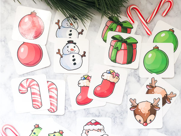 Free Christmas Printable For Kids | This free memory game is the perfect winter time activity for young children. It features Santa, Rudolph, a snowman, candy canes, christmas trees, presents and ornaments! #kids #kidsactivities #christmas #ideasforkids #santa #students #learningactivities