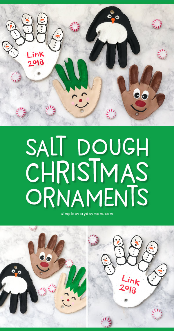Salt Dough Ornaments For Kids | Make these Christmas handprint ornaments with this easy salt dough recipe. It's a cute craft project to preserve your little one's hands forever.