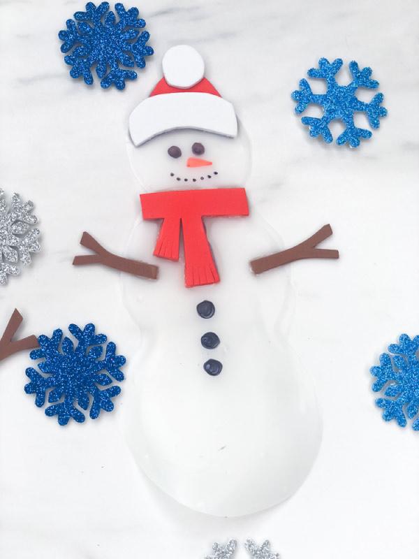 closeup of glue snowman