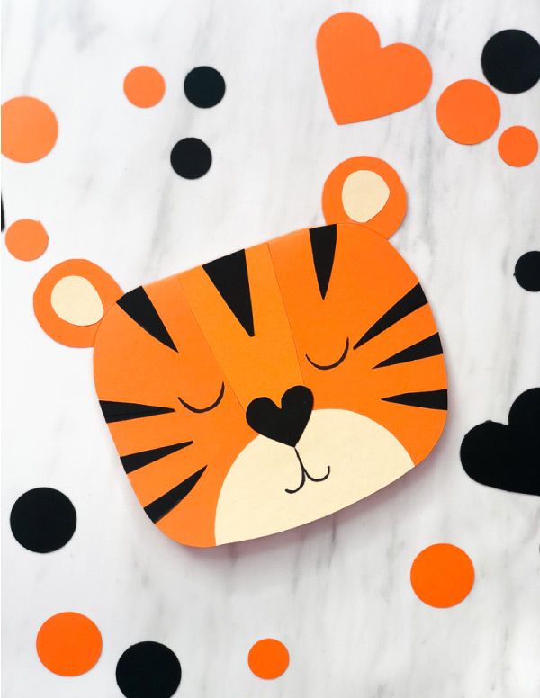 front of tiger themed valentine card for kids to make