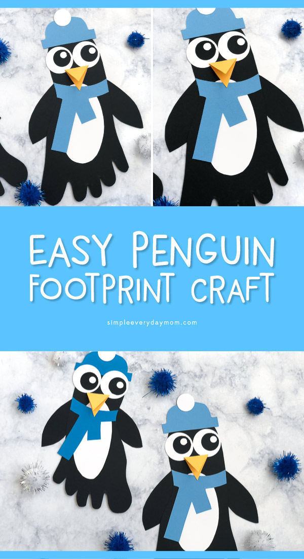 Cute Footprint Craft For Kids | Make this cute penguin craft this winter. #kids #kidsactivities #kidscrafts #craftsforkids #preschool #kindergarten #ece #teacher #children