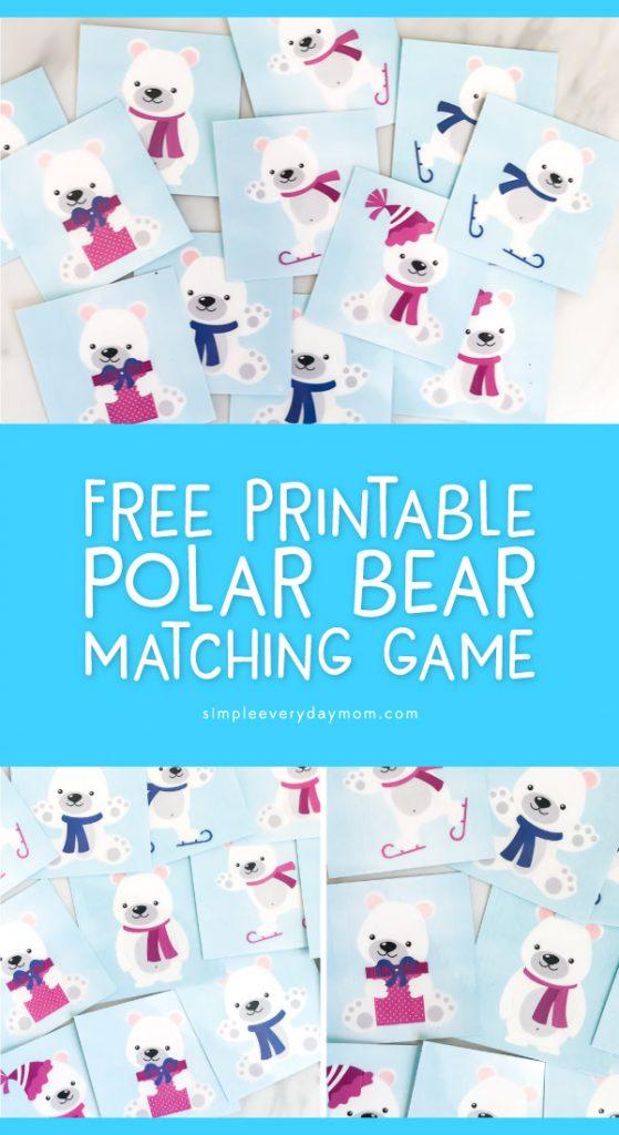 polar bear memory game cards
