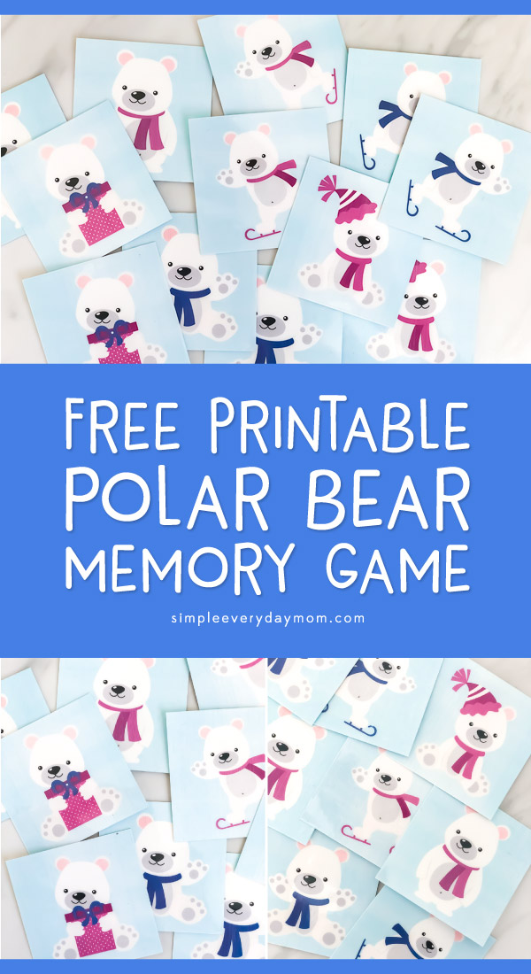 Free Printable Polar Bear Memory Game For Kids | This simple game is great for the preschool classroom or at home. #kids #teachingkindergarten #preschool #earlychildhood #kidsandparenting #teaching #teacher #homeschool #homeschooling