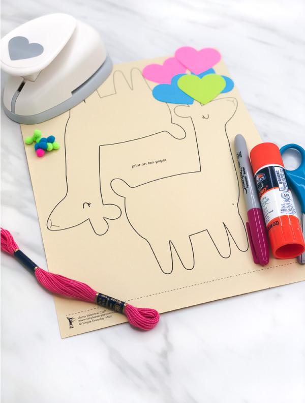 llama valentine craft supplies