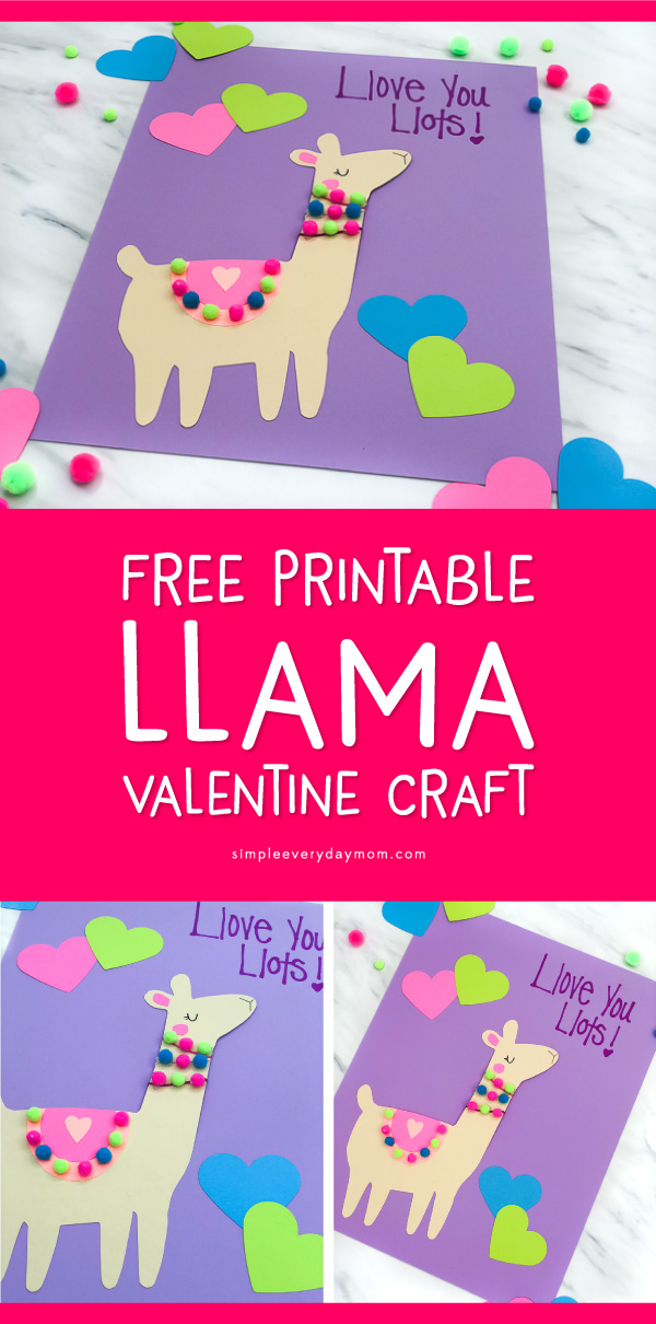 image regarding Printable Valentine Craft known as A Easy Lovely Llama Valentine Craft For Little ones (With Absolutely free