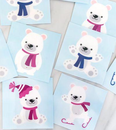 Free Printable Polar Bear Matching Game #kids #kidsandparenting #ece #preschool #prek