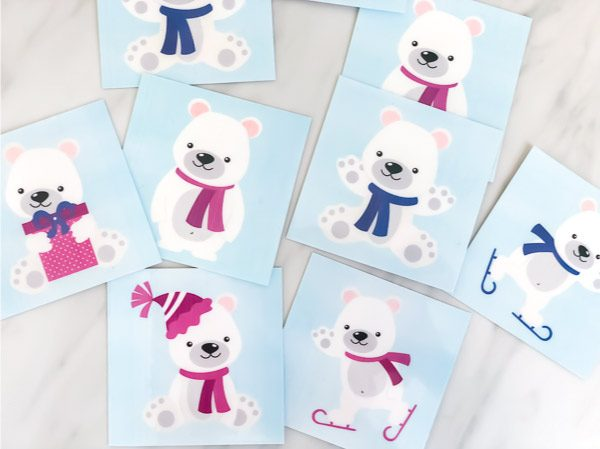 Free Printable Polar Bear Matching Game #kids #kidsandparenting #ece #preschool #prek