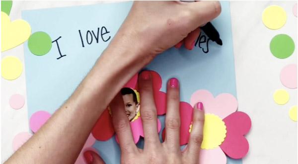 hand writing on valentine craft