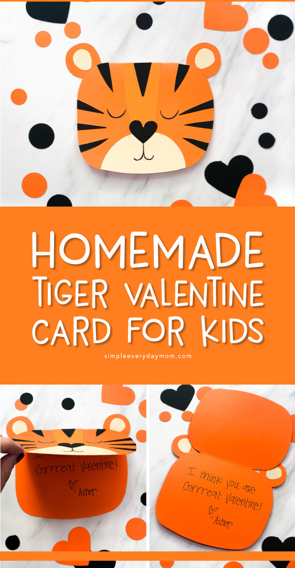 orange and black valentine card craft for kids to make
