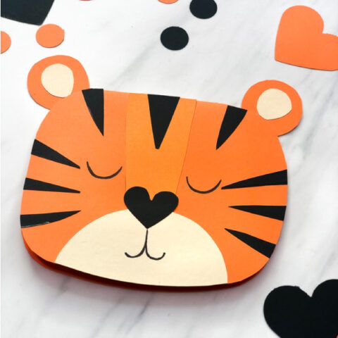 closeup of front of tiger valentine card craft for kids