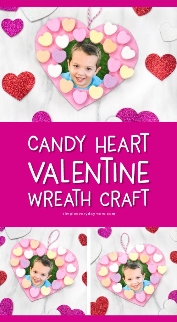 conversation heart candy wreath for valentines day